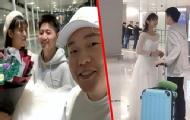 女孩穿上婚紗機場求婚